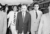 Jader Barbalho e Almir Gabril acompanham Jos&eacute; Sarney em visita a Bel&eacute;m.<br />1985<br /><br />Foto: Paulo Santos/ Interfoto