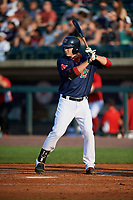 Lowell Spinners designated hitter Tyler Esplin (40) at bat during a game against the Vermont Lake Monsters on August 25, 2018 at Edward A. LeLacheur Park in Lowell, Massachusetts.  Vermont defeated Lowell 4-3.  (Mike Janes/Four Seam Images)