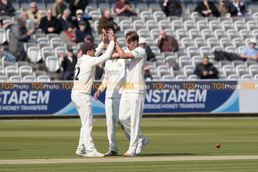 Rob Jones of Lancashire CCC congratulates Tom Bailey of Lancashire CCC on the fall of Nick Gubbins during Middlesex CCC vs Lancashire CCC, Specsavers County Championship Division 2 Cricket at Lord's Cricket Ground on 11th April 2019