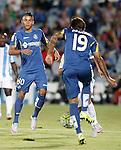 Getafe's Wanderson (l) and Damian Suarez during La Liga match.September 18,2015. (ALTERPHOTOS/Acero)