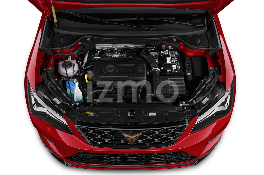 Car Stock 2019 Cupra Ateca Xcellence 5 Door SUV Engine  high angle detail view