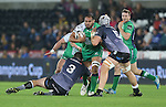 Connacht number 8 George Naoupu crashes into Ospreys pair Aaron Jarvis and Rynier Bernardo.<br /> Guiness Pro12<br /> Ospreys v Connacht<br /> Liberty Stadium<br /> 31.10.14<br /> &copy;Steve Pope-SPORTINGWALES