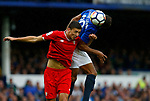 Everton's Dominic Calvert-Lewin (R) in action with Sevilla's Clement Lenglet during the pre season friendly match at Goodison Park Stadium, Liverpool. Picture date 6th August 2017. Picture credit should read: Paul Thomas/Sportimage