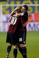 Keisuke Honda  and Riccardo Monteolivo  celebrates at the end during   Italian Serie A soccer match between Frosinone and AC Milan  at Matusa  Stadium in Frosinone ,December 20  , 2015