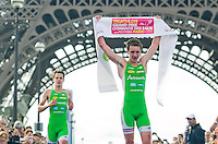 09 JUL 2011 - PARIS, FRA - Alistair Brownlee (EC Sartrouville)(right) celebrates winning the men's French Grand Prix series race ahead of his brother and EC Sartrouville team mate Jonathan Brownlee (PHOTO (C) NIGEL FARROW)