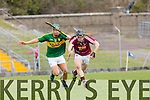 In Action Westmeath's Eoin Price gets away from Adrian Royle at the Kerry v Westmeath at Austin Stack Park on Sunday