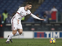 Football Soccer: Tim Cup semi-final second Leg, SS Lazio vs AC Milan, Stadio Olimpico, Rome, Italy, February 28, 2018.<br /> Milan's Fabio Borini kicks a penalty during the shootout of the Tim Cup semi-final football match between SS Lazio vs AC Milan, at Rome's Olympic stadium, February 28, 2018.<br /> <br /> UPDATE IMAGES PRESS/Isabella Bonotto