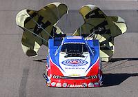 Feb 26, 2016; Chandler, AZ, USA; NHRA funny car driver Robert Hight during qualifying for the Carquest Nationals at Wild Horse Pass Motorsports Park. Mandatory Credit: Mark J. Rebilas-