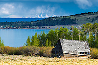 Henrys Lake Idaho.  A derelict log home still enhances this mountain landscape during a spring storm.
