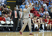 CHAPEL HILL, NC - FEBRUARY 25: Head coach Kevin Keatts of North Carolina State University calls a timeout during a game between NC State and North Carolina at Dean E. Smith Center on February 25, 2020 in Chapel Hill, North Carolina.