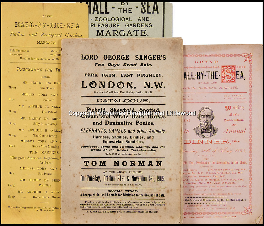 BNPS.co.uk (01202 558833)<br /> Pic: BearnesHampton&Littlewood/BNPS<br /> <br /> A fascinating archive of photographs and documents relating to Britain's 'Greatest Showman' has emerged for sale.<br /> <br /> Lord George Sanger established one of the very first circus shows in Victorian times and was the British equivalent of P.T Barnum, the subject of the hit musical movie The Greatest Showman.<br /> <br /> Now an archive that includes black and white photos of crowds of people gathered outside a huge circus tent in Margate as well one of five elephants lined up outside the same venue is available for sale at auction in Devon.