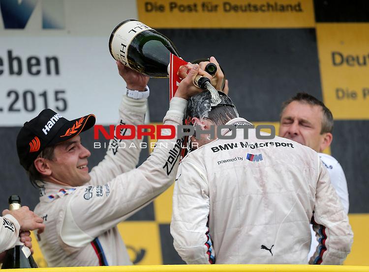 DTM 2015, 07.Lauf Oschersleben, 11.09. - 13.09.15 <br /> Podium:<br /> Feiert seinen ersten Sieg in der DTM Tom Blomqvist (SWE#31) BMW Team RBM BMW M4 DTM mit einer Champagnerdusche, Marco Wittmann (DEU#1) BMW Team RMG BMW M4 DTM ,Augusto Farfus (BRA#18) BMW Team RBM BMW M4 DTM <br /> <br /> <br /> <br /> <br /> Foto &copy; nordphoto /  Bratic