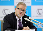 November 21, 2016, Tokyo, Japan - An insurance company AIG Japan Holdings president Robert Noddin speaks as he and Japanese high tech venture Cyberdyne president Yoshiyuki Sankai exchanged documents on their agreement for business collaboration at a press conference at AIG Japan headquarters in Tokyo on Monday, November 21, 2016. AIG Japan will develop insurance products and related services using Cyberdyne's robot suit Hybrid Assistive Limb (HAL) and other technologies such as vital sensors.   (Photo by Yoshio Tsunoda/AFLO) LWX -ytd-