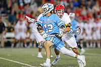 College Park, MD - April 27, 2019: John Hopkins Bluejays attack Kyle Marr (13) takes a shot during the game between John Hopkins and Maryland at  Capital One Field at Maryland Stadium in College Park, MD.  (Photo by Elliott Brown/Media Images International)