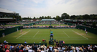 A general view of the outside courts<br /> <br /> Photographer Rob Newell/CameraSport<br /> <br /> Wimbledon Lawn Tennis Championships - Day 4 - Thursday 5th July 2018 -  All England Lawn Tennis and Croquet Club - Wimbledon - London - England<br /> <br /> World Copyright &not;&uml;&not;&copy; 2017 CameraSport. All rights reserved. 43 Linden Ave. Countesthorpe. Leicester. England. LE8 5PG - Tel: +44 (0) 116 277 4147 - admin@camerasport.com - www.camerasport.com