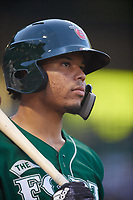Fort Wayne TinCaps catcher Luis Campusano (4) on deck during a game against the West Michigan Whitecaps on May 17, 2018 at Parkview Field in Fort Wayne, Indiana.  Fort Wayne defeated West Michigan 7-3.  (Mike Janes/Four Seam Images)