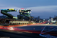 Front straight, early evening during the 1982 24 Hours of Le Mans, Le Mans, France.