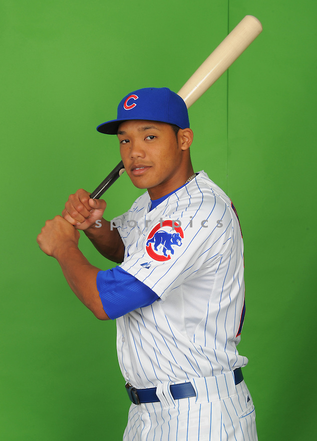Chicago Cubs Addison Russell (75) during photo day on March 2, 2015 in Mesa, AZ.