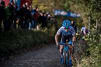 Eli Iserbyt (BEL/Marlux-Napoleon Games) leading the way up the infamous steep Koppenberg cobbles<br /> <br /> U23 race<br /> Koppenbergcross / Belgium 2017