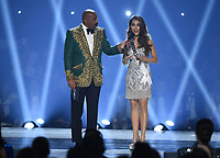 ATLANTA, GA - DECEMBER 8: 2019 MISS UNIVERSE: Host Steve Harvey and Miss Indonesia, Frederika Cull appear on the 2019 MISS UNIVERSE competition airing LIVE onSunday, Dec. 8(7:00-10:00 PM ET live/PT tape-delayed) on FOX. (Photo by Frank Micelotta/FOX/PictureGroup)