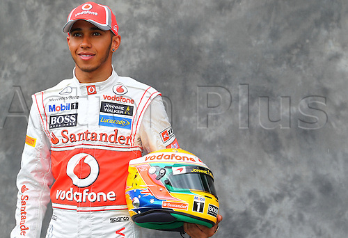 15.03.2012. Melbourne, Australia.  British Formula One driver Lewis Hamilton of McLaren Mercedes during the photo session at the paddock before the Australian Formula 1 Grand Prix at the Albert Park circuit in Melbourne, Australia, 15 March 2012. The Formula One Grand Prix of Australia will take place on 18 March 2012.