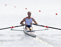 Poznan, POLAND,   USA LM1X, Cody LOWRY, competing in the heats of the men's lightweight single sculls on the first day of the, 2009 FISA World Rowing Championships. held on the Malta Rowing lake, Sunday 23/08/2009 [Mandatory Credit. Peter Spurrier/Intersport Images]