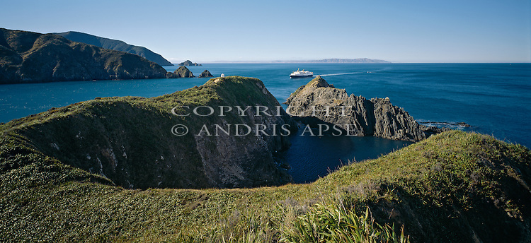Entrance to Tory Channel from Cook Strait. Marlborough Region. New Zealand.