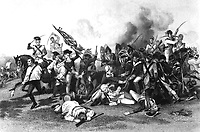 Battle of Camden - Death of De Kalb. August 1780.  Copy of engraving after Alonzo Chappel.  (George Washington Bicentennial Commission)<br />