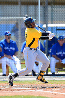 Pittsburgh Pirates outfielder Barrett Barnes #12 at bat during a minor league spring training game against the Toronto Blue Jays at Englebert Minor League Complex on March 16, 2013 in Dunedin, Florida.  (Mike Janes/Four Seam Images)