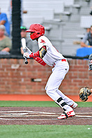 Johnson City Cardinals shortstop Delvin Perez (11) squares to bunt during a game against the Bristol Pirates at TVA Credit Union Ballpark on June 23, 2017 in Johnson City, Tennessee. The Pirates defeated the Cardinals 4-3. (Tony Farlow/Four Seam Images)