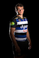 Zach Mercer poses for a portrait in the 2015/16 home kit during a Bath Rugby photocall on September 8, 2015 at Farleigh House in Bath, England. Photo by: Patrick Khachfe / Onside Images
