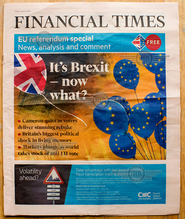 The front cover of the Financial Times newspaper announcing the result of the EU referendum on 24 June 2016, the day following the vote.