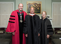 From left, President Jonathan Veitch, Secretary of Homeland Security Jeh Johnson and Trustee Susan DiMarco before Occidental College's 133rd Commencement at the Remsen Bird Hillside Theater, on Sunday, May 17, 2015.<br /> (Photo by Marc Campos, Occidental College Photographer)