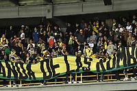 BOGOTA - COLOMBIA, 03-02-2019: Hinchas del Bucaramanga animan a su equipo durante partido por la fecha 3 de la Liga Águila I 2019 entre Millonarios y Atlético Bucaramanga jugado en el estadio Nemesio Camacho El Campin de la ciudad de Bogotá. / Fans of Bucaramanga cheer for their team during match for the date 3 of the Liga Aguila I 2019 between Millonarios and Atletico Bucaramanga played at the Nemesio Camacho El Campin Stadium in Bogota city. Photo: VizzorImage / Gabriel Aponte / Staff.