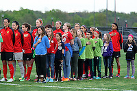 Piscataway, NJ, May 7, 2016.  The Western New York Flash starting eleven stand during the national anthem  prior to the game between Sky Blue FC and the Western New York Flash.  The Western New York Flash defeated Sky Blue FC, 2-1, in a National Women's Soccer League (NWSL) match at Yurcak Field.