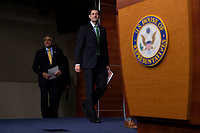 Speaker of the House of Representatives Paul Ryan, Republican of Wisconsin, enters the room prior to speaking with reporters during a post Republican Caucus meeting press conference on Capitol Hill in Washington, DC on June 13, 2018. Credit: Alex Edelman / CNP /MediaPunch