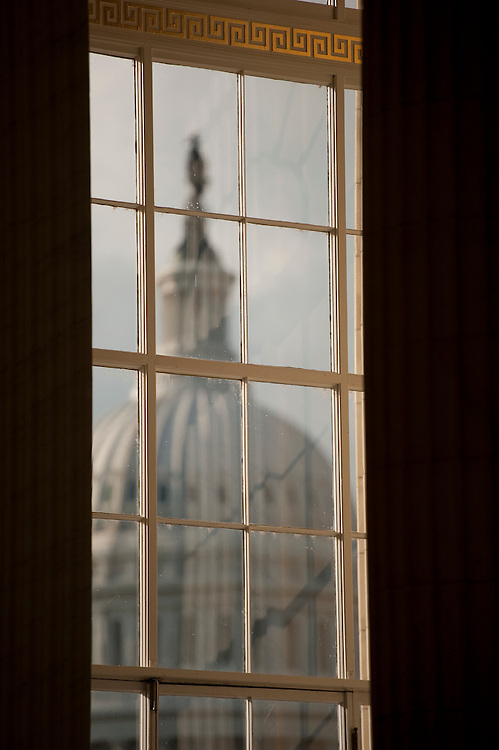 WASHINGTON, DC - Aug. 25: The dome of the U.S. Capitol is framed by a window in the rotunda of the Cannon House Office Building. (Photo by Scott J. Ferrell/Congressional Quarterly)