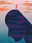 Illustrative image of man standing on head representing success