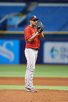 Boston Red Sox Enmanuel De Jesus (88) during an instructional league game against the Tampa Bay Rays on September 24, 2015 at Tropicana Field in St Petersburg, Florida.  (Mike Janes/Four Seam Images)