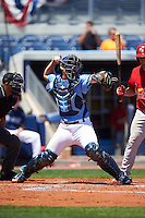 Charlotte Stone Crabs catcher Mac James (8) throws down to second during a game against the Palm Beach Cardinals on April 10, 2016 at Charlotte Sports Park in Port Charlotte, Florida.  Palm Beach defeated Charlotte 4-1.  (Mike Janes/Four Seam Images)