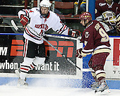 Tyler McNeely (NU - 94), Nate Gerbe (BC - 9) - The visiting Boston College Eagles defeated the Northeastern University Huskies 4-1 on NU's senior night, Saturday, March 8, 2008, at Matthews Arena in Boston, Massachusetts.
