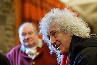 Pictured: Brian May (R) with leader for the hunt Byron John (L). Thursday 26 December 2019<br /> Re: Guitarist Brian May of Queen has joined the Boxing Day Hunt in Wind Street, Swansea, Wales, UK.