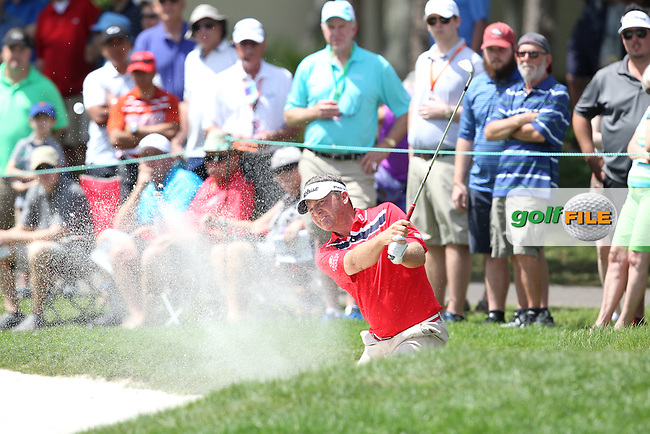 Jason Bohn of USA chips out of the bunker on the 1st green during the 3rd round of the Valspar Championship, Innisbrook Resort (Copperhead), Palm Harbor, Florida, USA<br /> Picture: Peter Mulhy / Golffile