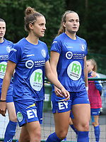 Gent's Chloe Vande Velde (10) (L) and Lobke Loonen (17) (R) walks onto the pitch before a female soccer game between Oud Heverlee Leuven and AA Gent Ladies  on the first matchday of the 2020 - 2021 season of Belgian Women's SuperLeague , sunday 30 of August 2020  in Heverlee , Belgium . PHOTO SPORTPIX.BE | SPP | SEVIL OKTEM