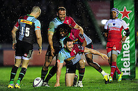 George Lowe of Harlequins is all smiles after scoring a try. European Rugby Challenge Cup semi final, between Harlequins and Grenoble on April 22, 2016 at the Twickenham Stoop in London, England. Photo by: Patrick Khachfe / JMP
