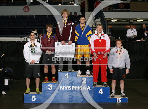 Nate Schiedel (1st - Caledonia Mumford); Dan Fruscella (2nd - Holland Patent); Jeremy Burns (3rd - Hoosick Falls); Chris Nocchi (4th - Waveryly); Rob Piscitello (5th - Locust Valley); Richard Dawson (6th - Medina) pose on the podium for the Division Two 189 weight class during the NY State Wrestling Championship finals at Blue Cross Arena on March 9, 2009 in Rochester, New York.  (Copyright Mike Janes Photography)