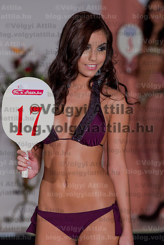 Evelin Beres participates the Miss Hungary beauty contest held in Budapest, Hungary on December 29, 2011. ATTILA VOLGYI