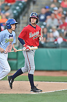 Mississippi Braves shortstop Dansby Swanson (5) walks back to the dugout during a game against the Tennessee Smokies at Smokies Stadium on May 7, 2016 in Kodak, Tennessee. The Smokies defeated the Braves 5-3. (Tony Farlow/Four Seam Images)