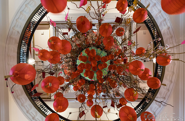 Lantern decoration in Queen Victoria Building during 2016 Chinese New Year Celebrations in Sydney, Lunar Lanterns Festival across the city cbd. Year of the Monkey, Sydney, NSW, Australia