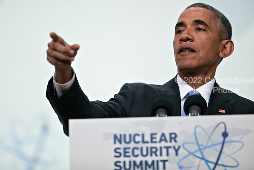 United States President Barack Obama points to a member of the media to take a question during a news conference at the Nuclear Security Summit in Washington, D.C., U.S., on Friday, April 1, 2016. After a spate of terrorist attacks from Europe to Africa, Obama is rallying international support during the summit for an effort to keep Islamic State and similar groups from obtaining nuclear material and other weapons of mass destruction. <br /> Credit: Andrew Harrer / Pool via CNP